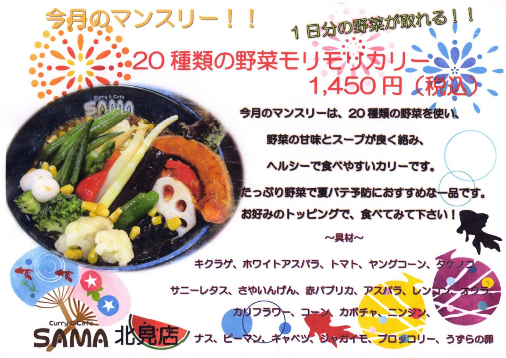 20種類の野菜モリモリカリー