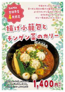 揚げ小籠包とチンゲン菜のカリー 4月マンスリーカレー SAMA吉祥寺店の画像