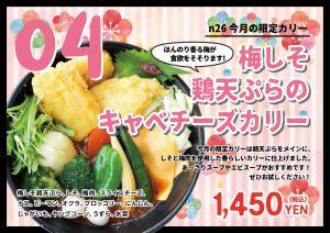梅しそ鶏天ぷらのキャベチーズカリー 4月マンスリーカレー SAMA N26店の画像