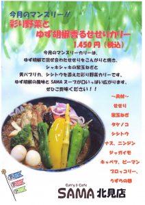 彩り野菜とゆず胡椒香るせせりカリー 5月マンスリーカレー SAMA北見店の画像