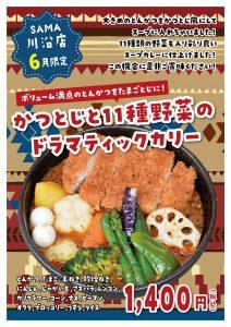 かつとじと11種野菜のドラマティックカリー 6月マンスリーカレー SAMA川沿店