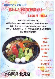 豚ヒレと彩り夏野菜カリー 7月マンスリーカレー SAMA北見店
