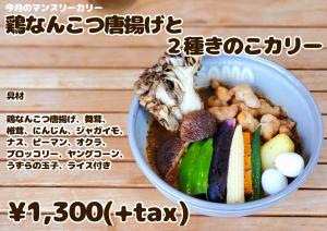 鶏なんこつと唐揚げと2種きのこカリー 9月マンスリーカレー SAMA神田店