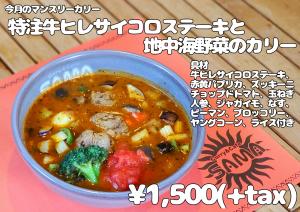 特注牛ヒレサイコロステーキと地中海野菜のカリー 11月マンスリーカレー SAMA神田店