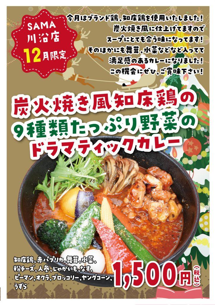 炭火焼き風知床鶏の9種類たっぷり野菜のドラマティックカリー 12月マンスリーカレー SAMA川沿店